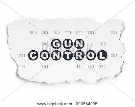 Security concept: Painted black text Gun Control on Torn Paper background with  Binary Code