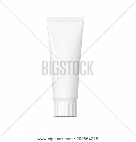 Realistic white tube. For cosmetics ointments cream tooth paste glue. Mock up for brand template. vector illustration.