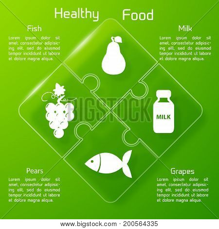 Healthy food infographics with set of valuable for human body products icons on green background vector illustration