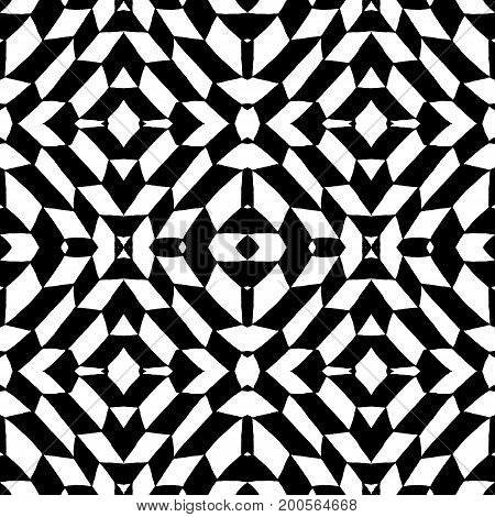 Seamless pattern geometric black and white tiles. Vector illustration. Drawing by hand