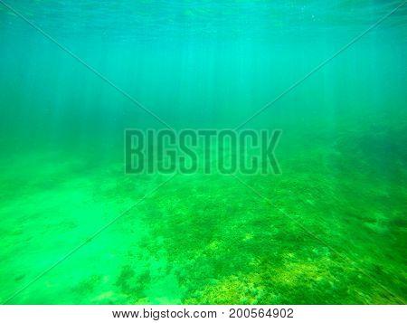 Sun rays seen from underwater. Sardinia Italy