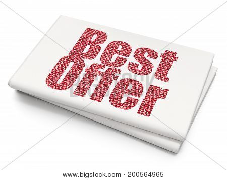 Finance concept: Pixelated red text Best Offer on Blank Newspaper background, 3D rendering