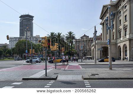 Plaza Portal De La Pau In Barcelona