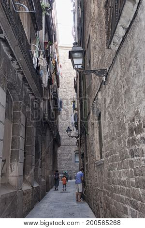 On The Streets Of The Gothic Quarter In Barcelona