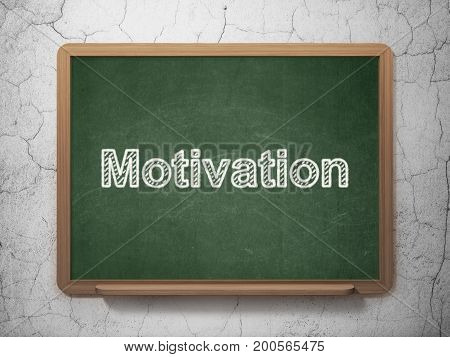 Finance concept: text Motivation on Green chalkboard on grunge wall background, 3D rendering
