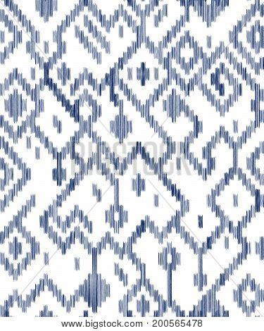 Ethnic abstract geometric ikat worn out fabric pattern in blue and white, vector background