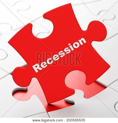 Finance concept: Recession on Red puzzle pieces background, 3D rendering