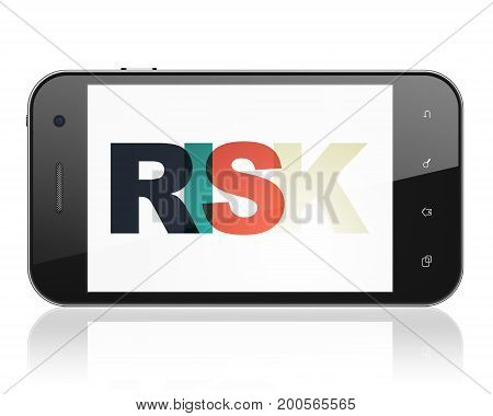 Finance concept: Smartphone with Painted multicolor text Risk on display, 3D rendering