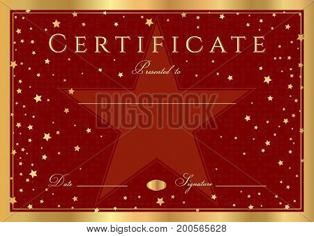 Certificate, Diploma of completion (abstract design template, red background) with gold frame and stars