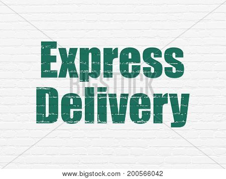 Finance concept: Painted green text Express Delivery on White Brick wall background
