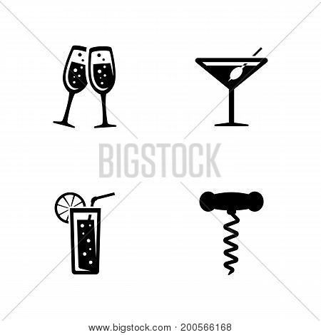 Drink alcohol. Simple Related Vector Icons Set for Video, Mobile Apps, Web Sites, Print Projects and Your Design. Black Flat Illustration on White Background.