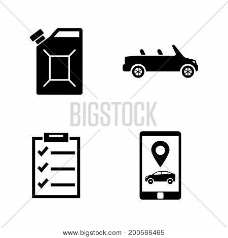 Car service. Simple Related Vector Icons Set for Video, Mobile Apps, Web Sites, Print Projects and Your Design. Black Flat Illustration on White Background.