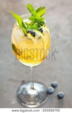 Beautiful Orange Cocktail Aperol Syringe With Ice Cubes