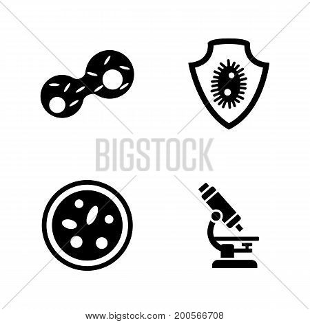Genetics lab research. Simple Related Vector Icons Set for Video, Mobile Apps, Web Sites, Print Projects and Your Design. Black Flat Illustration on White Background.