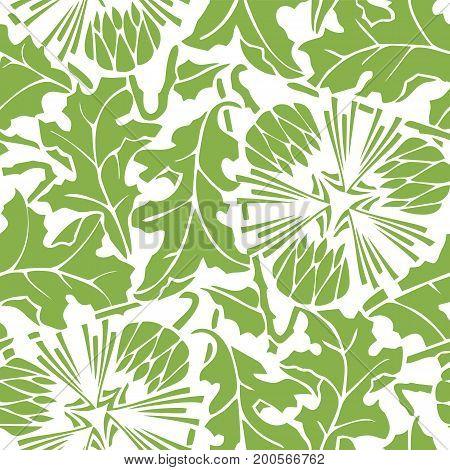 Greenery dandelion seamless pattern background illustration.