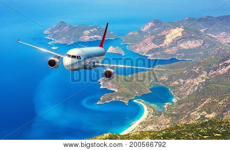 Airplane Is Flying Over Amazing Islands And Mediterranean Sea