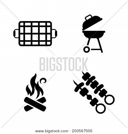 Barbecue. Simple Related Vector Icons Set for Video, Mobile Apps, Web Sites, Print Projects and Your Design. Black Flat Illustration on White Background.