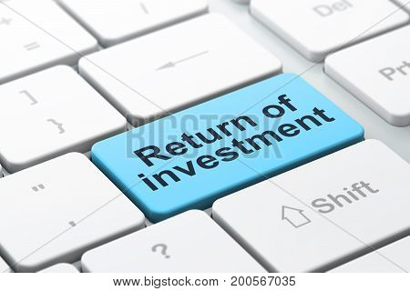 Business concept: computer keyboard with word Return of Investment, selected focus on enter button background, 3D rendering