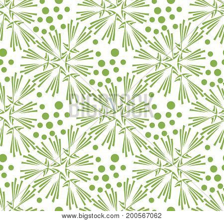 Greenery dandelion seamless pattern wallpaper illustration. Spring ecology trendy color 2017, green background design