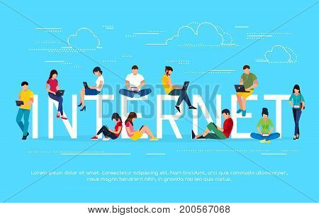 Internet concept. Young people with tablet pc and laptops are engaged in distance learning on the Internet. Men and women in a flat style read using gadgets. Vector illustration.