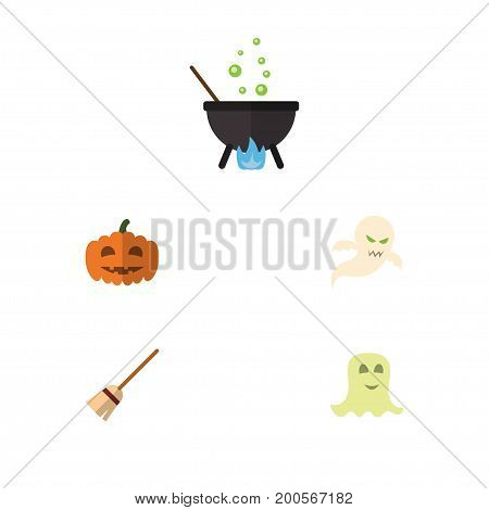 Flat Icon Halloween Set Of Gourd, Magic, Spirit And Other Vector Objects