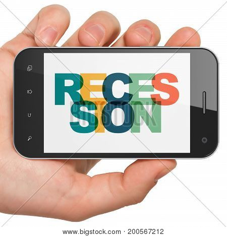 Business concept: Hand Holding Smartphone with Painted multicolor text Recession on display, 3D rendering