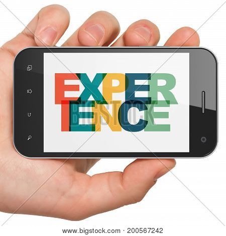 Finance concept: Hand Holding Smartphone with Painted multicolor text Experience on display, 3D rendering