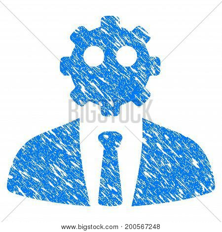 Grunge Artificial Office Worker icon with grunge design and dust texture. Unclean vector blue pictogram for rubber seal stamp imitations and watermarks. Draft emblem symbol.