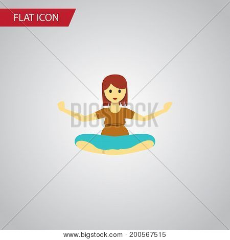 Meditation Vector Element Can Be Used For Pregnant, Woman, Meditation Design Concept.  Isolated Yoga Flat Icon.