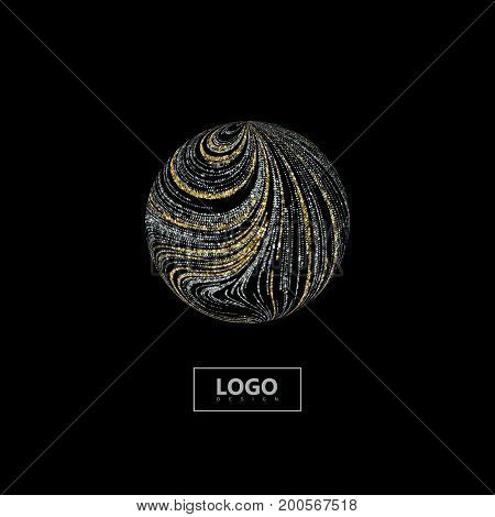 Abstract 3d sphere with curled texture of shiny golden and silver glitters. Vector creative illustration of curled sparkling stripes shape. Logo design