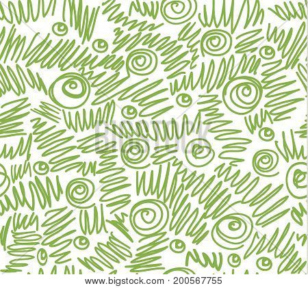 Greenery abstract doodles seamless pattern background illustration.