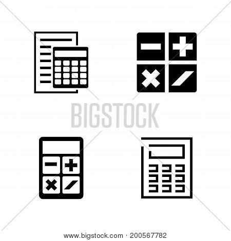 Calculators. Simple Related Vector Icons Set for Video, Mobile Apps, Web Sites, Print Projects and Your Design. Black Flat Illustration on White Background.