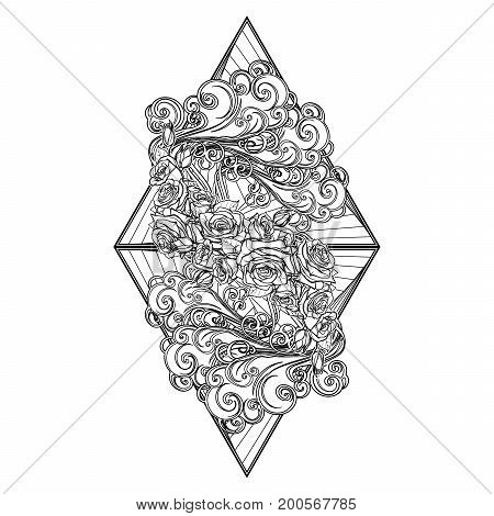 Element Air. Decorative vignette with curly clouds and rose flower garland on triangles. Black linear hand drawing isolated on white. Concept design for the tattoo, colouring book or postcard.