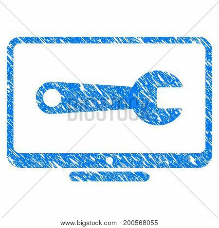 Grunge Desktop Configuration Wrench icon with grunge design and scratched texture. Unclean vector blue pictogram for rubber seal stamp imitations and watermarks. Draft emblem symbol.
