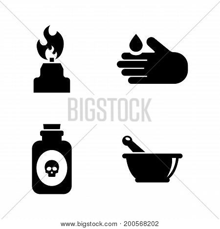 Science. Simple Related Vector Icons Set for Video, Mobile Apps, Web Sites, Print Projects and Your Design. Black Flat Illustration on White Background.