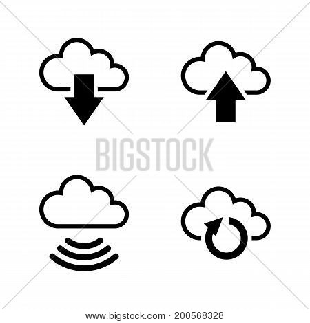 Data Synchronisation. Simple Related Vector Icons Set for Video, Mobile Apps, Web Sites, Print Projects and Your Design. Black Flat Illustration on White Background.