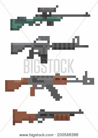 set of pixel firearm vector illustration computer old game