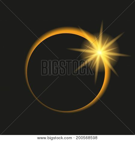Total eclipse of the sun in dark sky. Vector illustration
