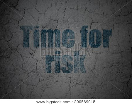 Timeline concept: Blue Time For Risk on grunge textured concrete wall background