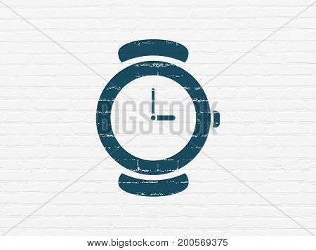 Timeline concept: Painted blue Hand Watch icon on White Brick wall background