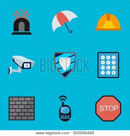 Set Of 9 Editable Procuring Flat Icons. Includes Symbols Such As Password, Hardhat, Barrier And More