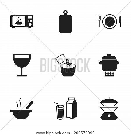 Set Of 9 Editable Cooking Icons. Includes Symbols Such As Cutting Surface, Prepare Meal, Microwave And More