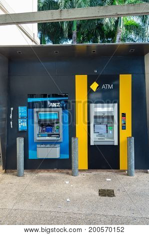 Brisbane Australia - July 9 2017: ANZ and Commonwealth Bank of Australia automatic teller machines. ANZ and Commonwealth Bank are two of Australia's largest banks.