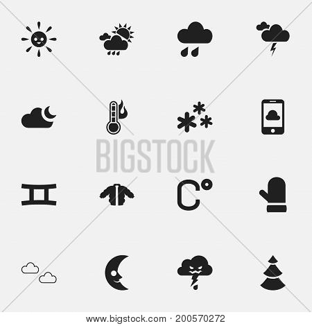 Set Of 16 Editable Weather Icons. Includes Symbols Such As Deluge, Coat, Smile Lunar And More