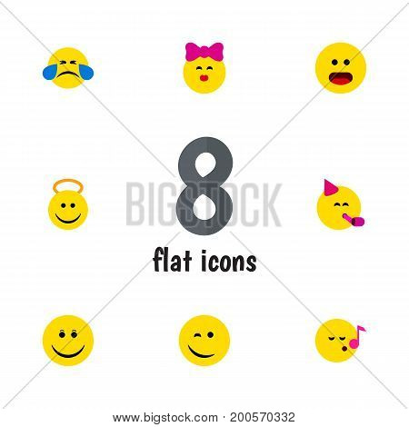 Flat Icon Expression Set Of Joy, Caress, Angel And Other Vector Objects
