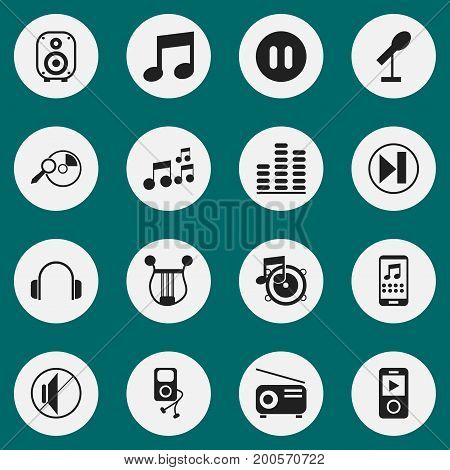 Set Of 16 Editable Melody Icons. Includes Symbols Such As Speaker, Media Fm, Mp3 Player And More