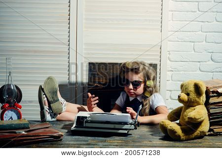 Education and childhood. Kid choose career and typing in glasses. Small girl with curler in hair. Child with briefcase and alarm clock. Little baby secretary with bear and book. poster
