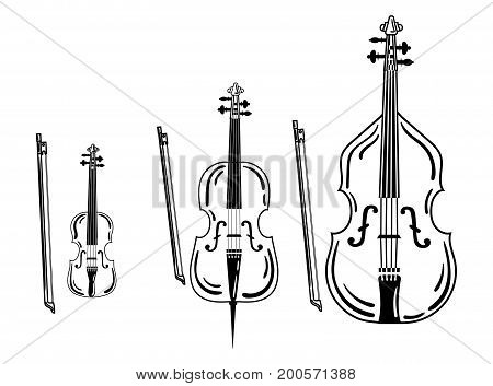 Set of violins. Collection of bow musical instruments. Stylized cello. Black and white illustration.