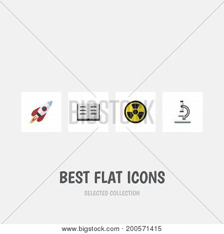 Flat Icon Study Set Of Spaceship, Lecture, Irradiation And Other Vector Objects