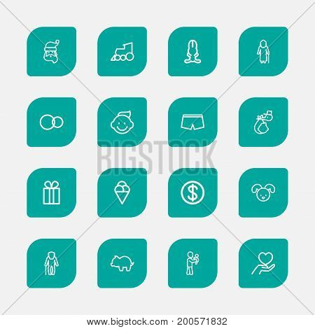 Set Of 16 Editable Kin Outline Icons. Includes Symbols Such As Care, Perambulator, Grandmother